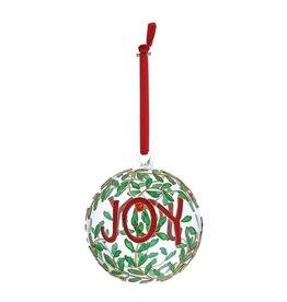 Joy Hanging Glass Bauble Ornament