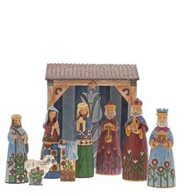 enesco Jim Shaw Folklore Nativity set of 9