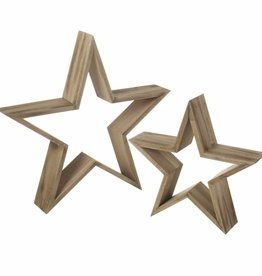 Set of two wooden stars