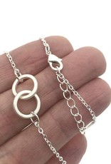Double Ring Necklace, Always Be There For You, in silver