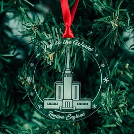 LDSBookstore (USA) London Temple Acrylic Ornament - Joy To The World