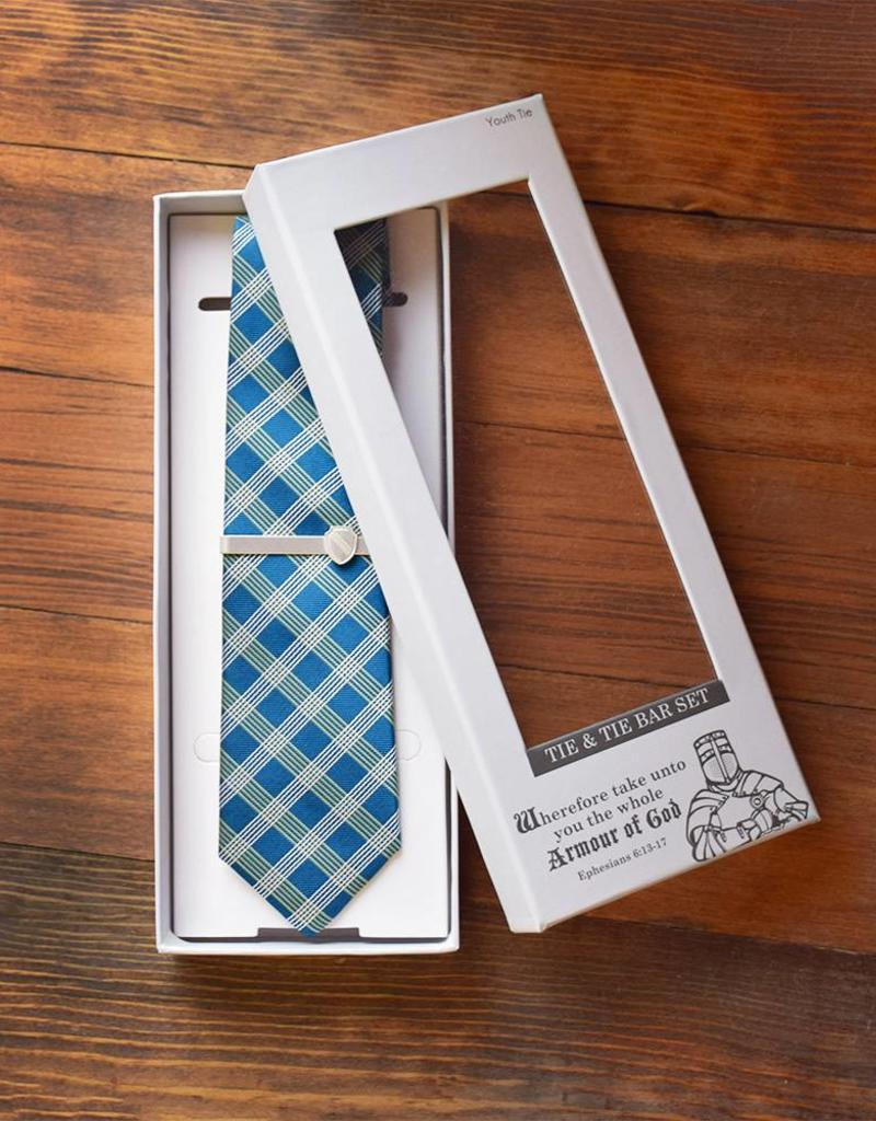 "Armour of God Tie & Tie Bar Set 49"" Youth Tie"