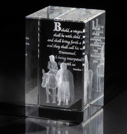Laser Engraved Crystal Cube - Journey To Bethlehem