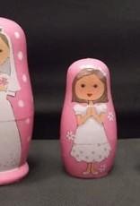 Three White Dresses Nesting Dolls