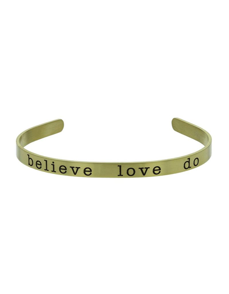 Believe, love, Do Cuff Bracelet Gold