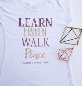 SweetSalt Modest Clothing Learn, Listen, Walk, Peace (D&C 19:23) Graphic Tee