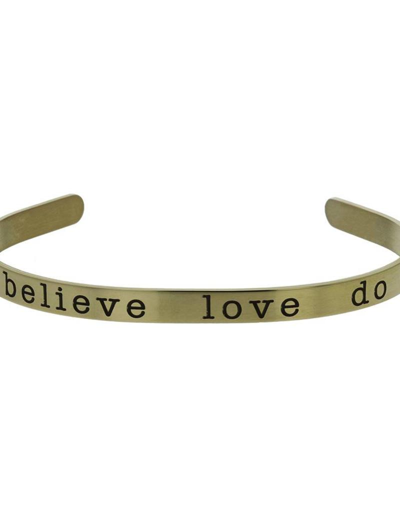 Believe, love, Do Cuff Bracelet Rose Gold