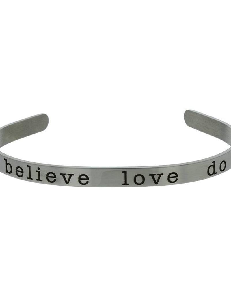 Believe, love, Do Cuff Bracelet Silver