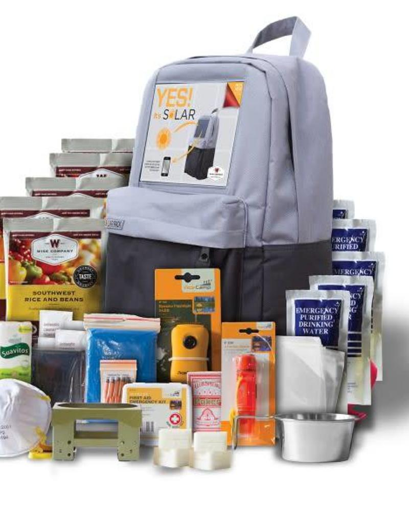 wise food Solar Backpack + 5 Day Survival Kit ((72 Hour kit for two people) )