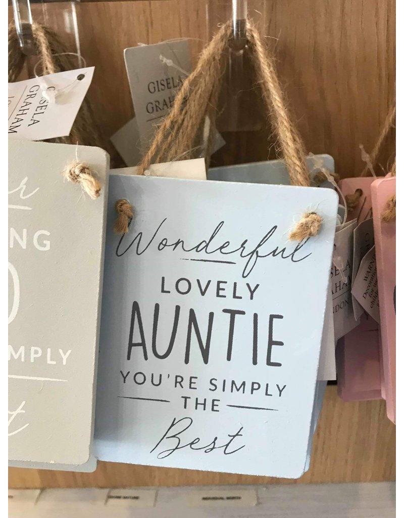 Blue Wood wonderful lovely auntie 10x9cm