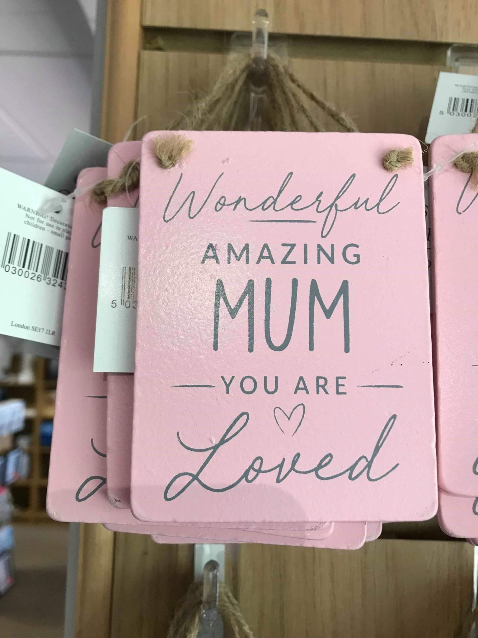 Pink Wood wonderful Amazing Mum 10x9cm