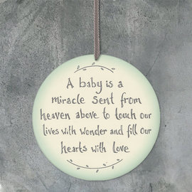 EastOfIndia Round Sign Baby Is Miracle