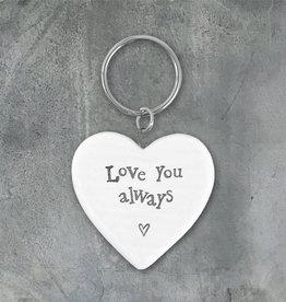 EastOfIndia Love You Always Porcelain Heart Keyring