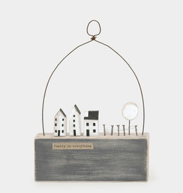 EastOfIndia Wooden scene-Houses & fence/Family is everything