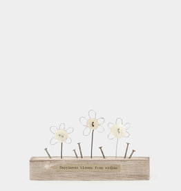 EastOfIndia Wooden scene-Sml flowers/Happiness blooms