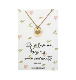 Commandment Heart Stamped Necklace, If Ye Love Me Keep My Commandments, 2019 Mutual Theme, Gold