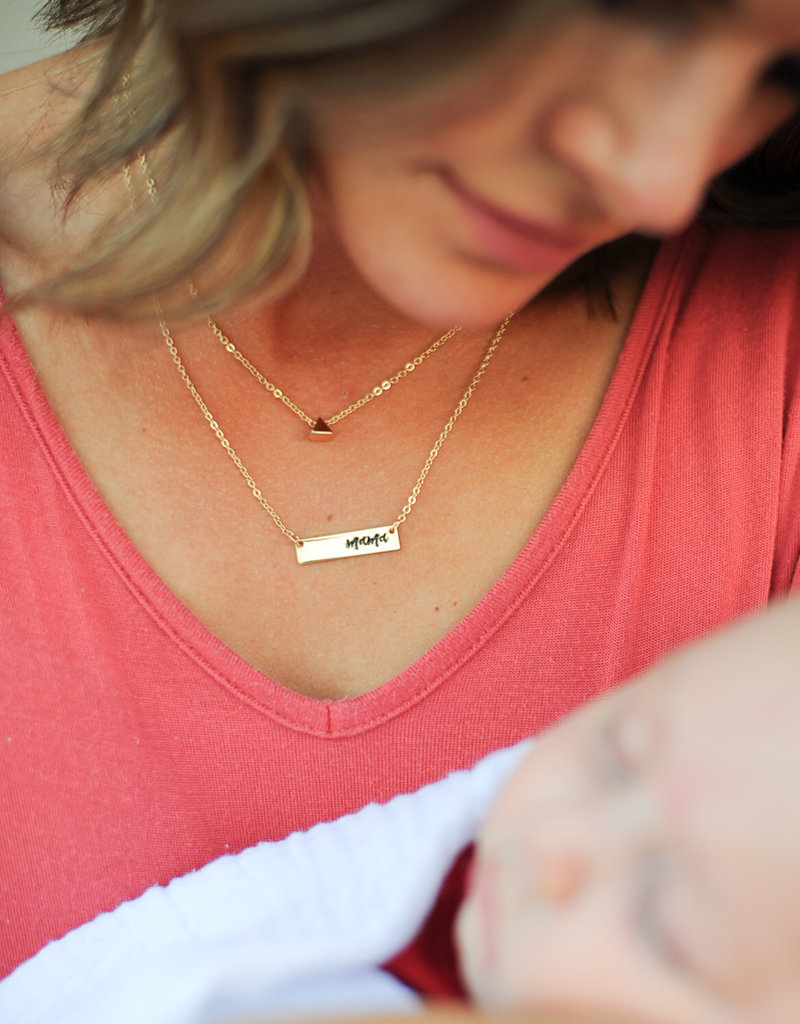 Mama Necklace – Mama Bar Stamped Necklace, in gold