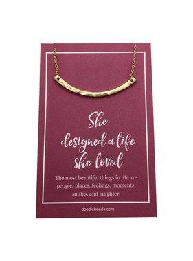 """She Designed A Life She Loved"" Crescent Bar Necklace Gold"