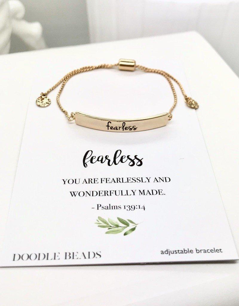 Fearless Bracelet, Gold Stamped Bar Bracelet