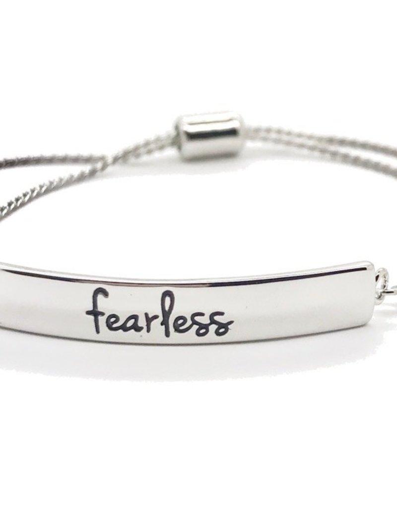 Fearless Bracelet, Silver Stamped Bar Bracelet