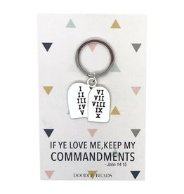 Commandment Tablet Key Ring, If ye love me keep my commandments