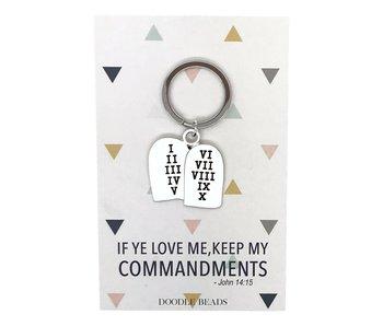 Commandment Tablet Key Ring, If ye love me keep my commandments