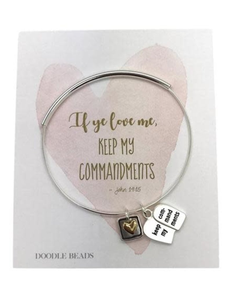 2019 Mutual Theme Charm Bracelet, If Ye Love Me Keep My Commandments, Silver