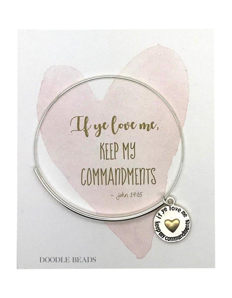2019 Mutual Theme Charm Bracelet with word heart charm, If Ye Love Me Keep My Commandments