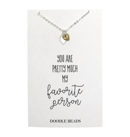 Favorite Person Double Heart Necklace, silver