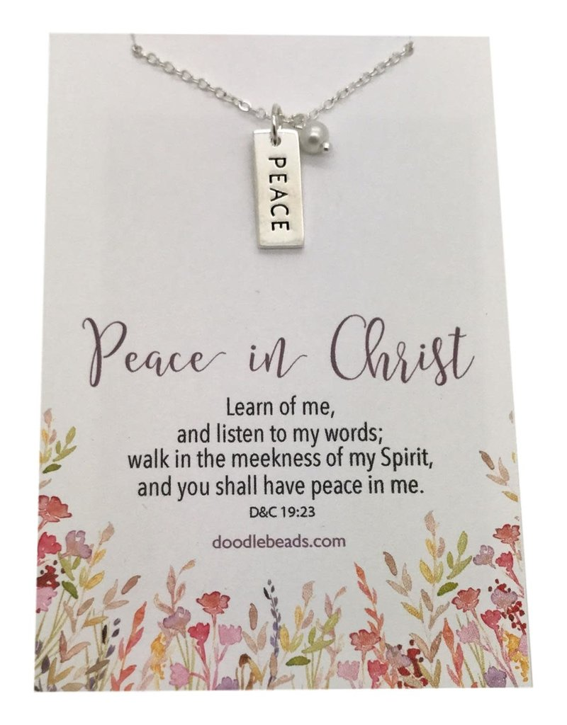Peace in Christ Charm Necklace, Silver