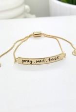 Pray.Wait.Trust. Bracelet, Gold Stamped Bar Bracelet With Card