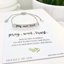 Pray.Wait.Trust. Bracelet, Silver Stamped Bar Bracelet With Card