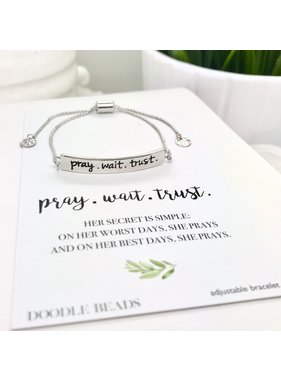Pray.Wait.Trust. Bracelet, Silver Stamped Bar Bracelet With Card