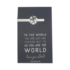 "Dad World Tie Bar – ""To the world you are one person but to us you are the world"" Father's Day Gift"