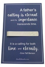 """Infinity Tie Bar carded """"A Father's calling is eternal…for both time and eternity."""" Gift for Father (Fathersday)"""
