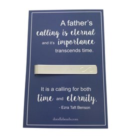 "Infinity Tie Bar carded ""A Father's calling is eternal…for both time and eternity."" Gift for Father (Fathersday)"