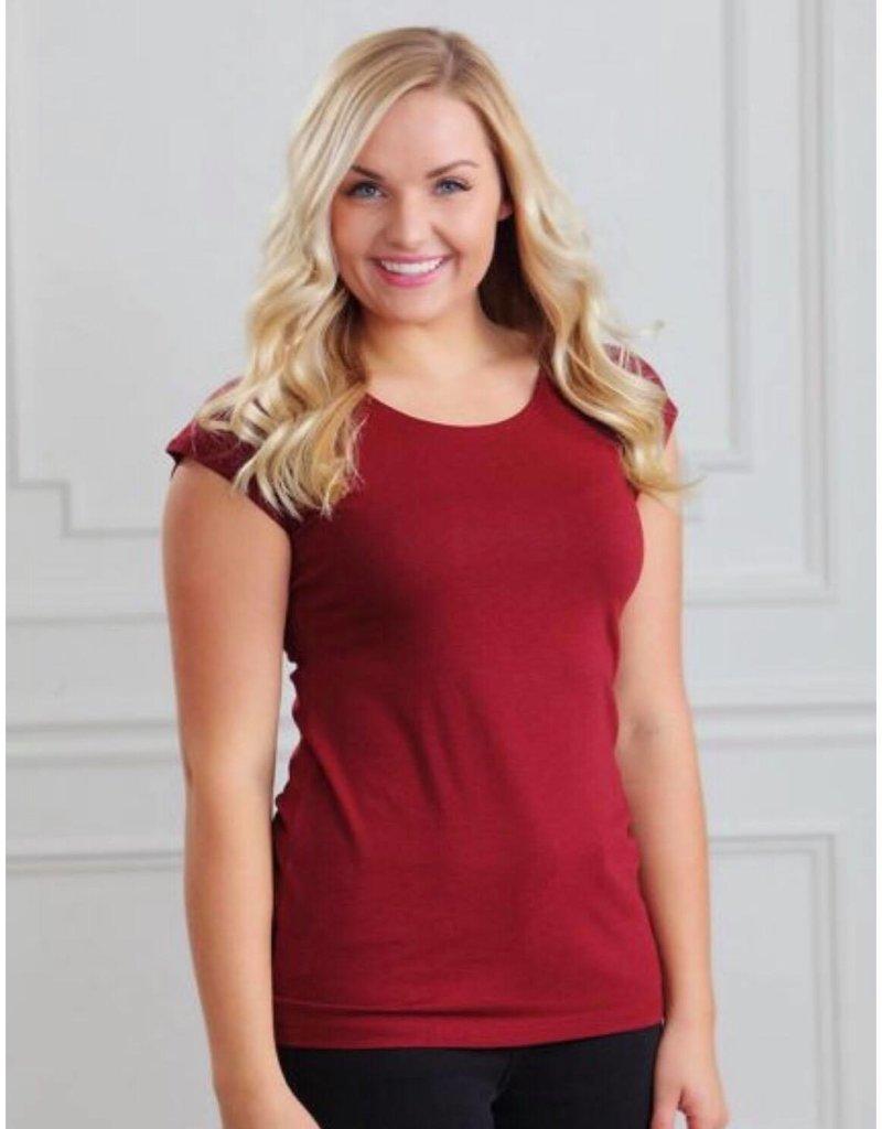 SweetSalt Modest Clothing Poinsetta Red Modesty/layering tees - Sweet Salt Clothing