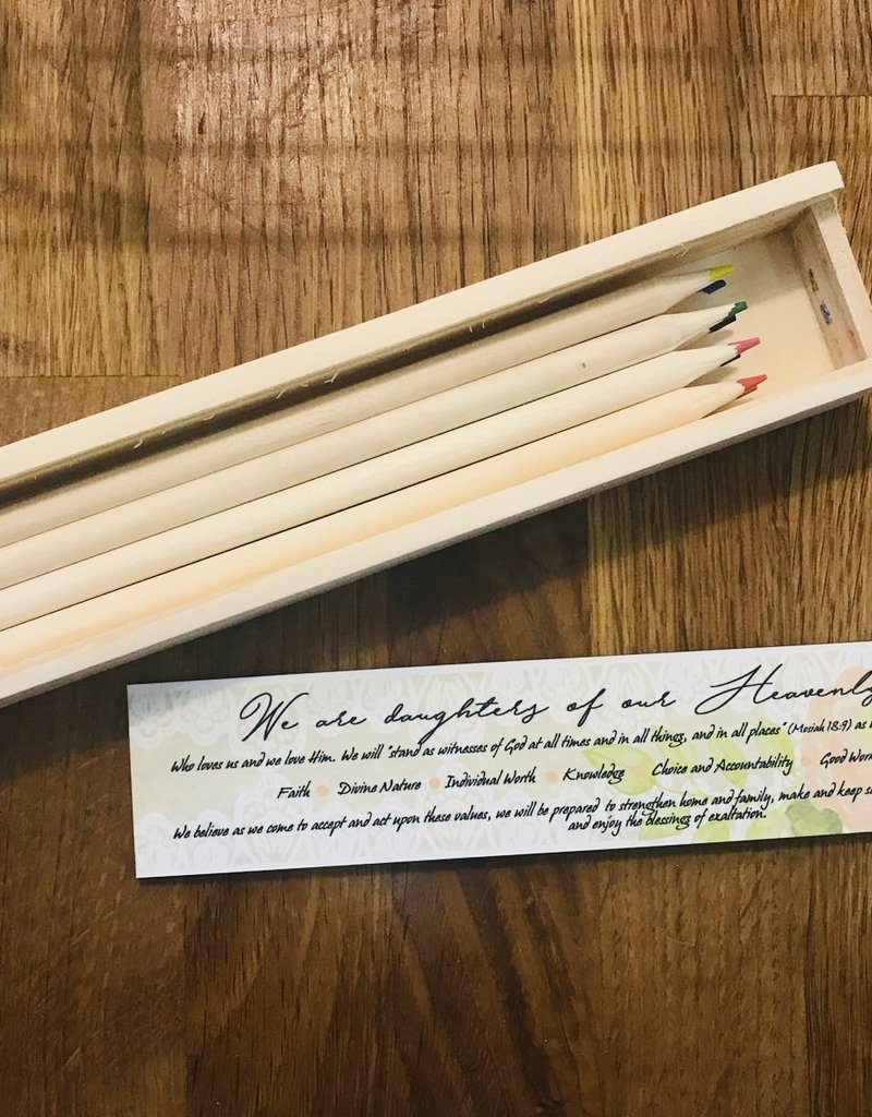 Young Women's Theme Wooden Pencil Case with 8 Coloured Pencils
