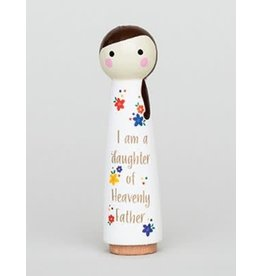 I Am A Daughter Peg Doll White Girl 4.5 inch