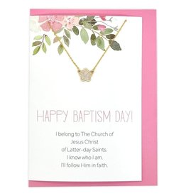 Happy Baptism Day Greeting Card with Flower Necklace (Silver)