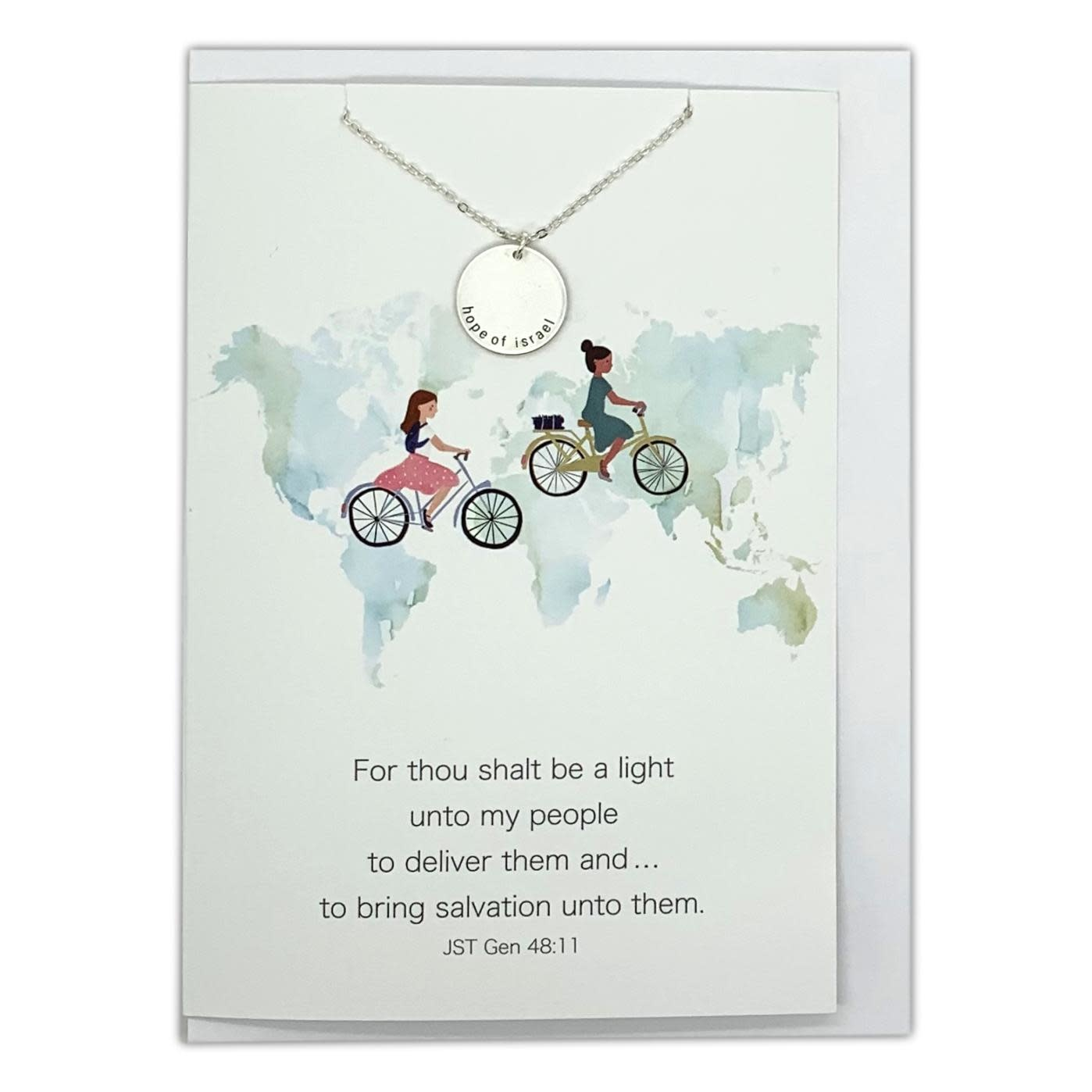 Hope of Israel Necklace, Sister Missionary Jewelry & Greeting Card (Gold)