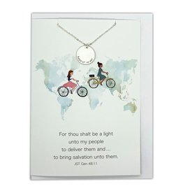 Hope of Israel Necklace, Sister Missionary Jewelry & Greeting Card (Silver)