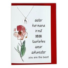 Sister You Are The Best! Greeting card w/ stamped flower necklace. (Gold)