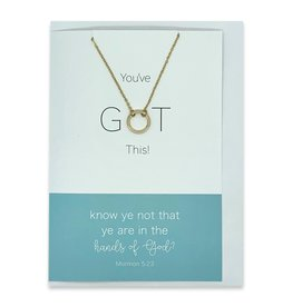 "You've GOT This, ""Know Ye Not That Ye Are In The Hands of God"" Greeting Card With Eternity Ring Necklace (Silver)"