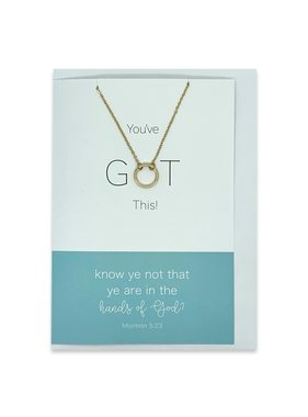 """You've GOT This, """"Know Ye Not That Ye Are In The Hands of God"""" Greeting Card With Eternity Ring Necklace (Silver)"""