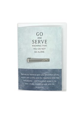 """Mountian Tie Bar, Missionary Greeting Card and Gift, """"Go and Serve"""""""