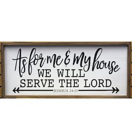 """As for me and my house we will serve the Lord (white 32"""" x 14"""") Wall Art"""