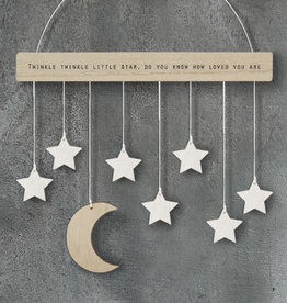 EastOfIndia 586 Wood hanger with moon & stars