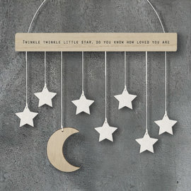 EastOfIndia 586 Wood hanger with moon & stars