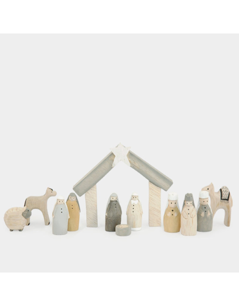 1542 Natural little boxed Nativity set